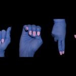 Es sind 6 Hände die in der Zeichensprache die Buchstaben H - A - E - N - D - E bilden.